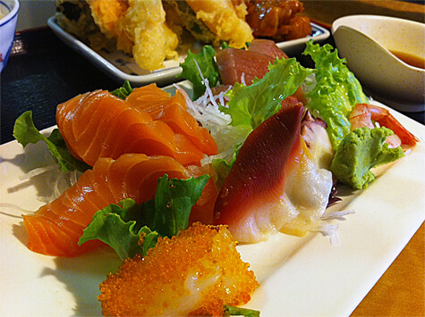 Close up of the delicious sashimi at Kobe Japanese Bistro