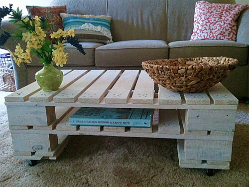 Coffee table made from wood pallets!