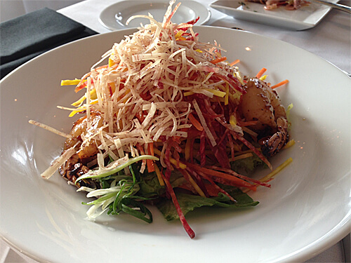 Asian Vermicelli Vegetable Slaw (crispy taro root, julienne root vegetable, pickled red onion, vermicelli noodle, ponzu dressing, with prawns) - $13 starter $18 full - at XIX Nineteen.