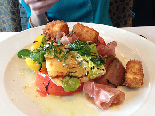 Heirloom Tomato Prosciutto Salad (sliced Alberta prosciutto, crispy polenta, extra virgin olive oil and aged balsamic glaze) - Market price ($18) at XIX Nineteen.