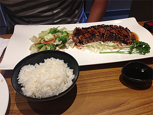 Teriyaki Beef (7 oz New York strip, tataki style in a honey glazed teriyaki sauce, $22 including miso soup, house salad, rice and ice cream) at Sakai Sushi Bar in Spruce Grove!