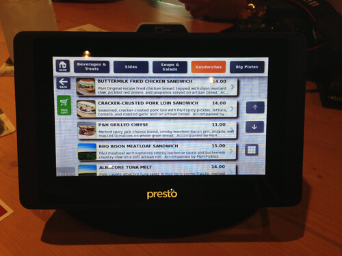 Digital menu & payment tablets at Plow & Harvest.