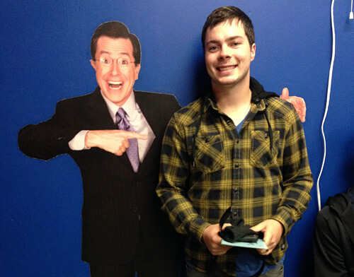 Mike hanging out with Stephen Colbert in the audience waiting room ;)