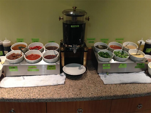 Sauce station at 97 Hot Pot.