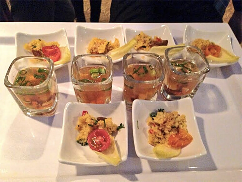 Oriental Hot Shooter with Tofu and Curried raisin couscous on Belgian endive at Have You Eaten a Ford Lately? event.