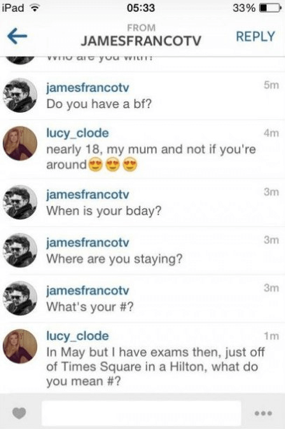 James Franco's awkward Instagram flirting with underage girl. (SCREENSHOT/PHOTO CREDIT: Gawker.com)