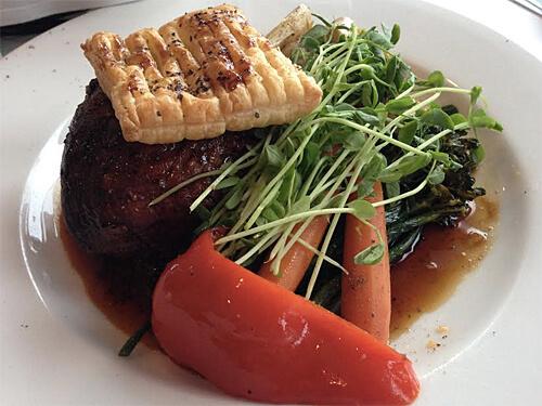 Deconstructed Beef Wellington - Sterling Silver Beef Tenderloin, mushroom duxelle, sauce perigueux, puff pastry trellis.