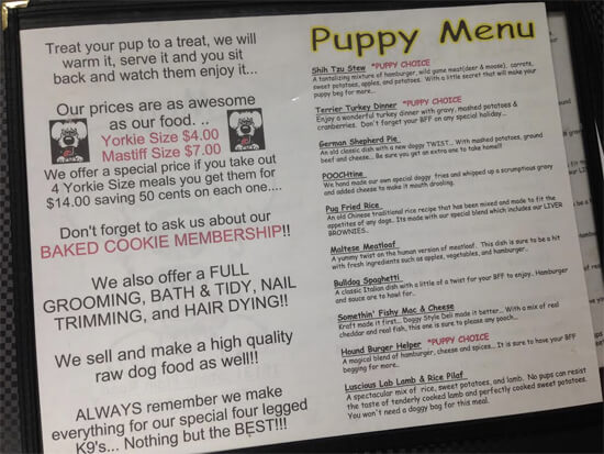 The delicious menu at Doggy Style Deli!