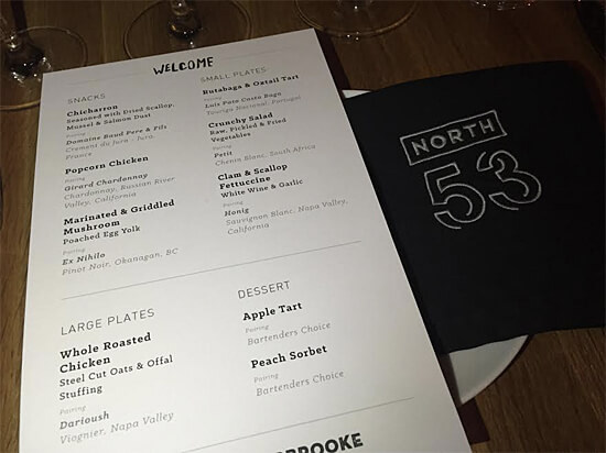The menu for North 53 relaunch event!