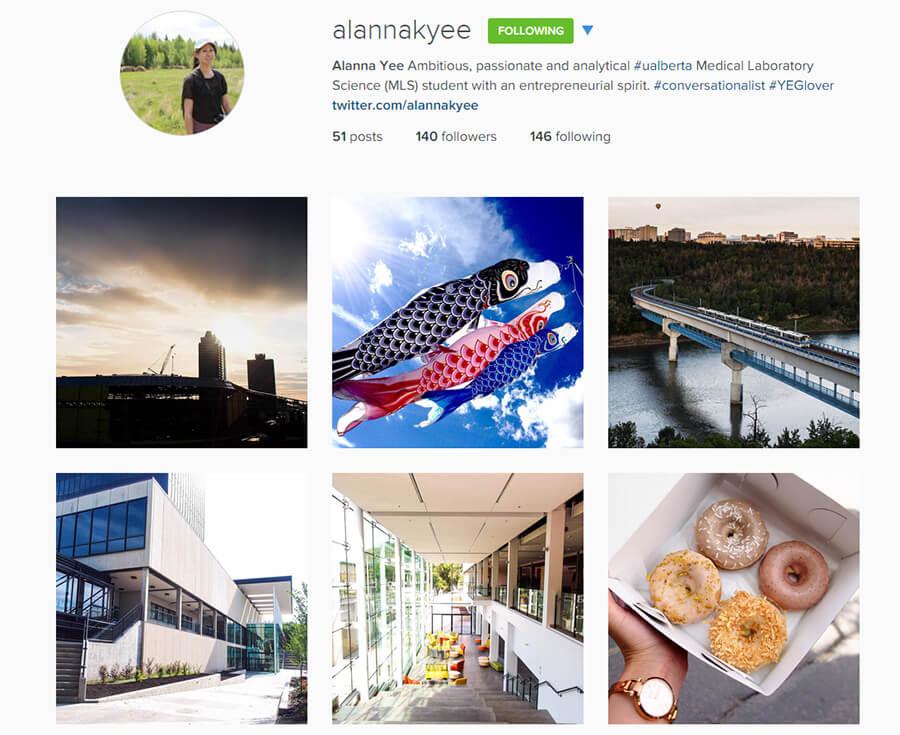 Edmonton Instagram Users - alannakyee