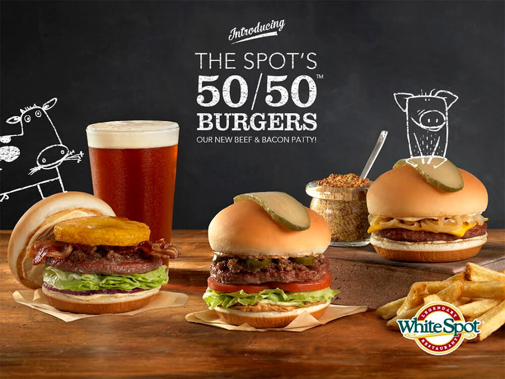 White Spot 50 50 Burger - Hawaiian Burger - Edmonton Restaurants