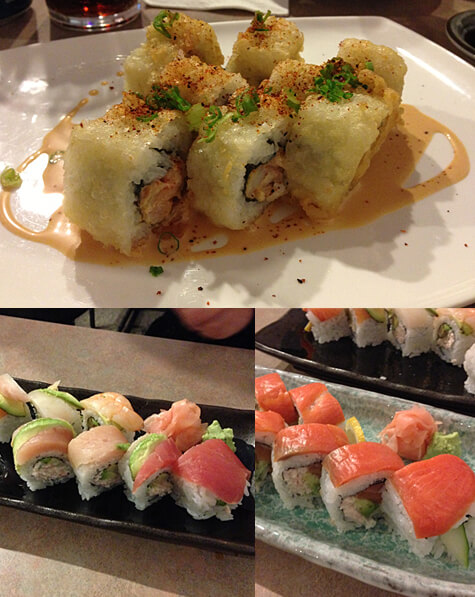 Crispy Cajun Rolls ($9), Rainbow Rolls ($12) and Alaskan Rolls ($11) at Yuzen!