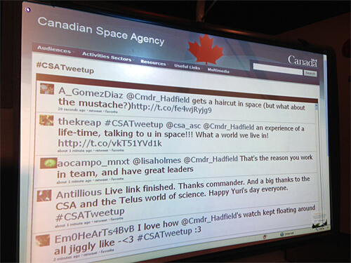 Live tweet screen at the first CSA Tweetup in Western Canada!