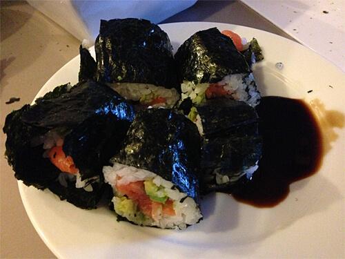 Ta-da! Basic sushi making. We succeeded.