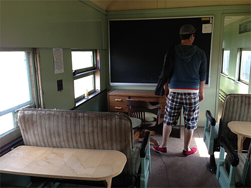 One of the old trains had a classroom! At the Alberta Railway Museum.
