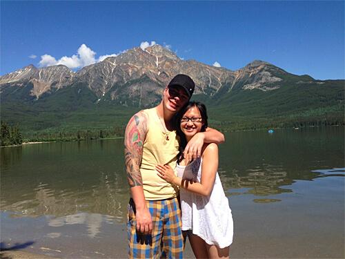 At Pyramid Lake in Jasper!