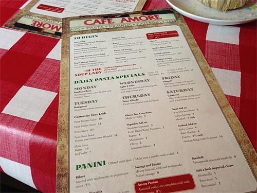 Menu at Cafe Amore.