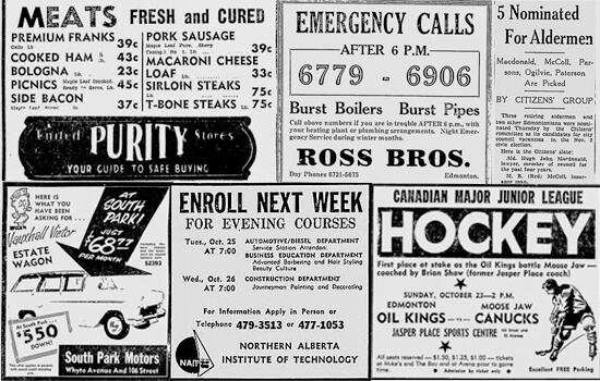 Some historical newspaper clippings. A sample of posts you'll find on Vintage Edmonton.