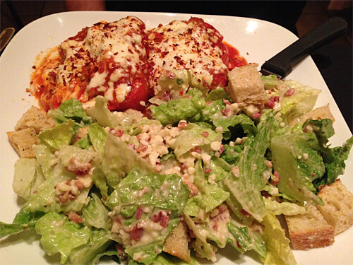 Stuffed Bell Peppers - with ground beef, baked with mozzarella, Parmigiano cheese and tomato sauce - $23