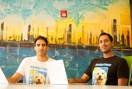 Shiv Takhar (left) with business partner Suraj Hemnani. The duo are behind the popular Weather Puppy and Weather Kitty apps.