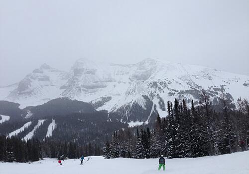 Snowboarding on the mountain.