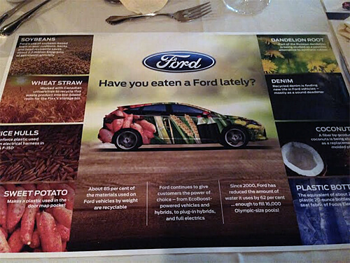 Informative placemat at Have You Eaten a Ford Lately? event - all the different biofuels used in Ford vehicles.