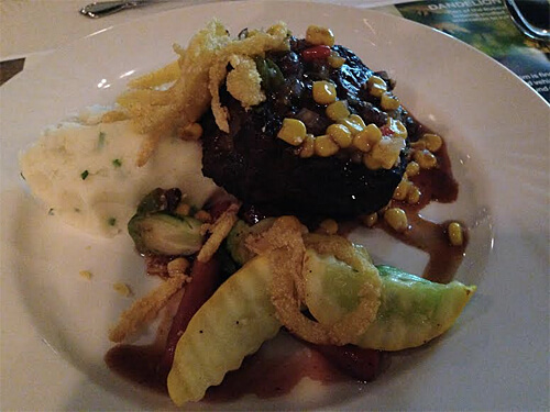 Spring Creek Striploin of Beef - Gruyere pomme de terre puree, corn succotash pinot noir reduction at Have You Eaten a Ford Yet? event.