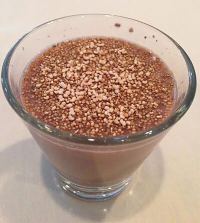 Chocolate almond milk with amaranth.