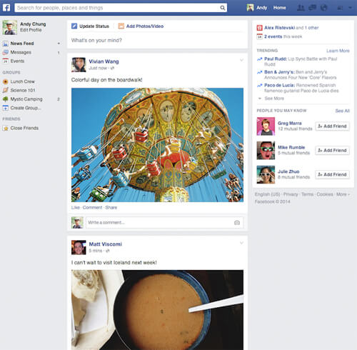 "Facebook's rolling out its ""new"" redesign (even though I've had it for a year!) Photo credit: Mashable/Facebook"