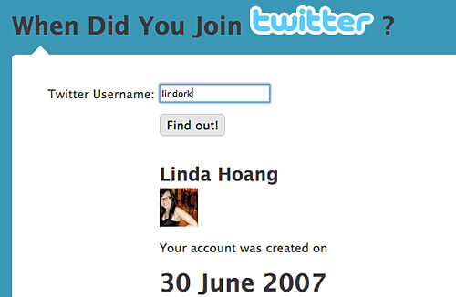 The date Linda joined Twitter.