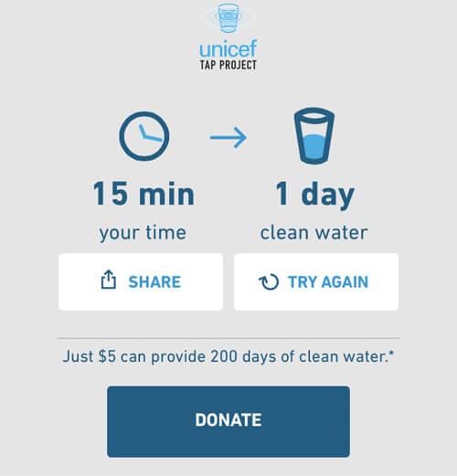 UNICEF's Tap Project gives water to children in need.