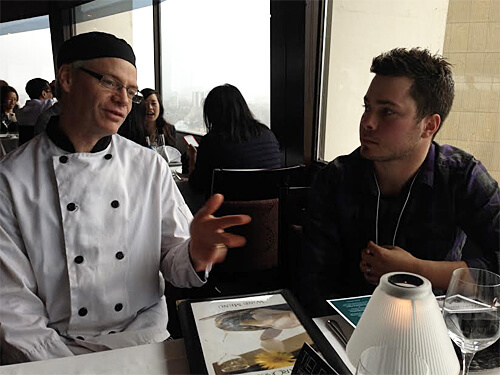 In-house pastry chef Scott Parker talks up La Ronde with Mike.