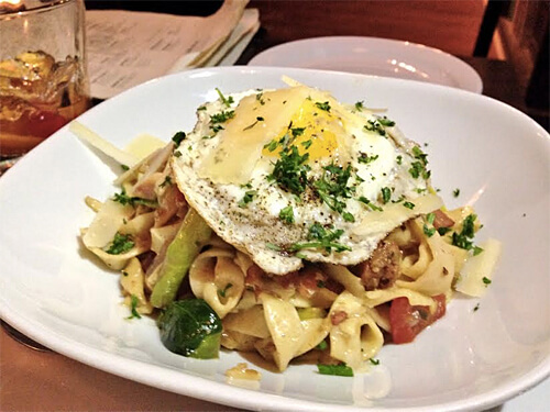 House Pasta - (daily creation) - Bacon Fettuccine, Egg ($16)