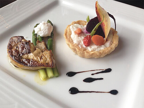 Poached quail egg, foie gras, Gouda mousse vegetable tart cooked by Sharon & Gail!