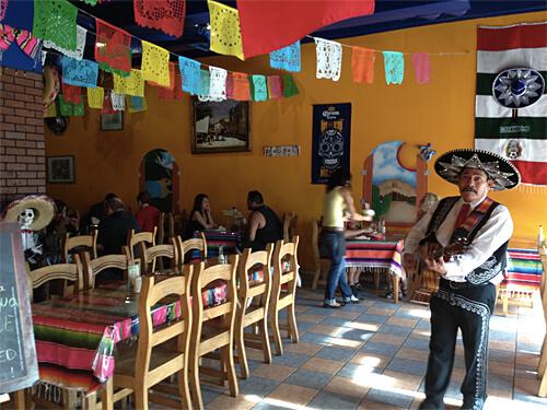 Inside Three Amigos (so cute!) with adorable singer!