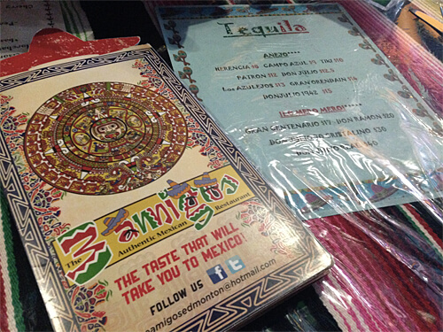 The menu at Three Amigos.