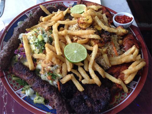 The Kebab Platter with Qabeli Pallaw (seasoned basmati rice, carrot & raisins) at Afghan Chopan Kebab!