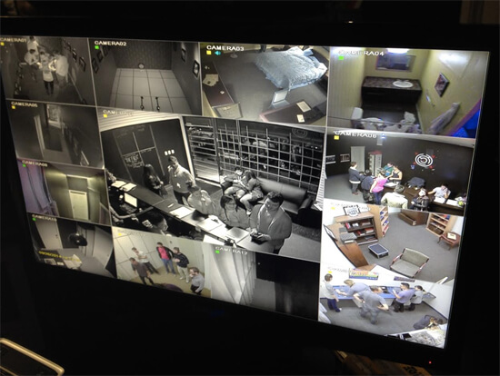 Cameras showing all of the escape rooms.