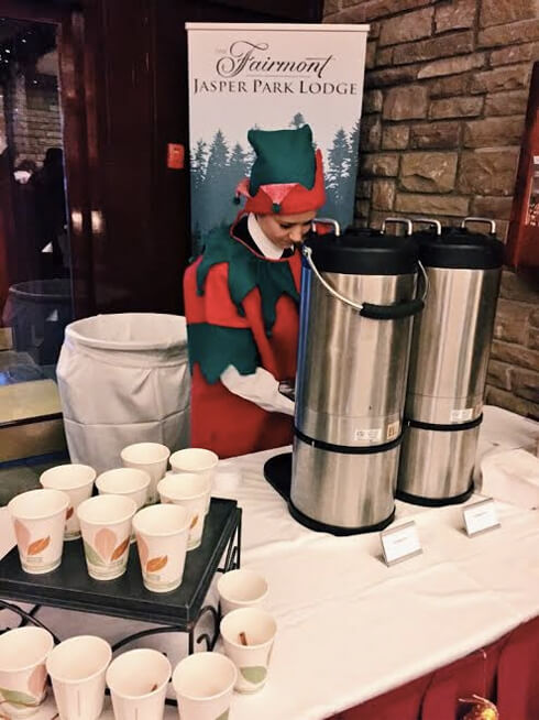 Elves serving hot apple cider at the Fairmont Jasper Park Lodge!