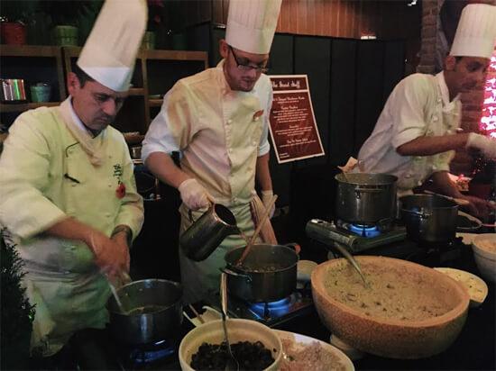 Chefs making mushroom risotto!