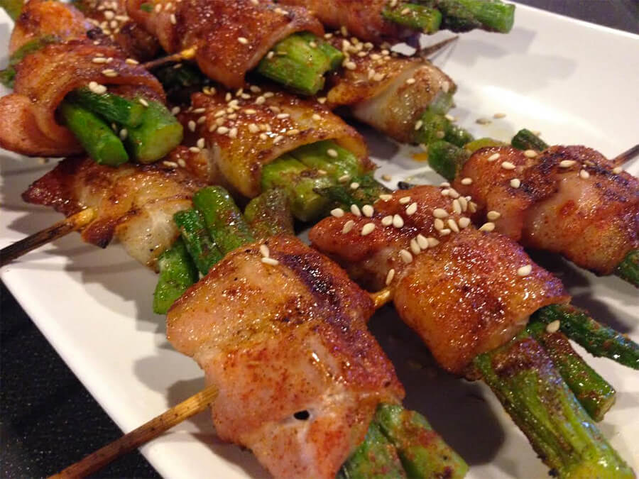 Bacon-wrapped asparagus (3 pieces, $5.25 each) at LETS Grill Restaurant.