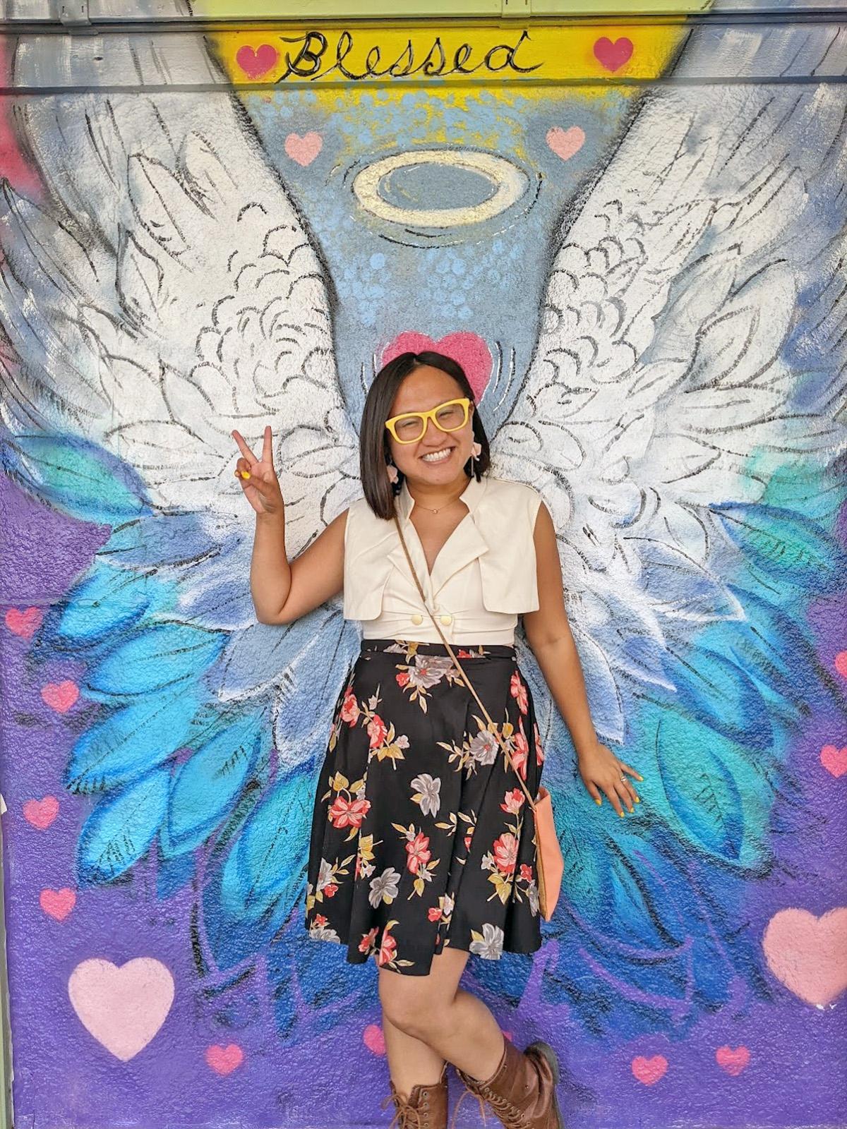 Instagrammable Walls of Edmonton - Explore Edmonton - Murals - Walls - Whyte Ave Old Strathcona - Clairitea Angel Wings