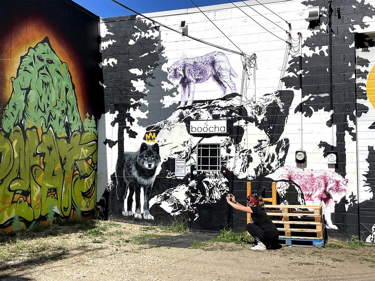 Instagrammable Walls of Edmonton - Explore Edmonton - Murals - Walls - Whyte Ave Old Strathcona - Grindstone Theatre Boocha Mural Massive 2
