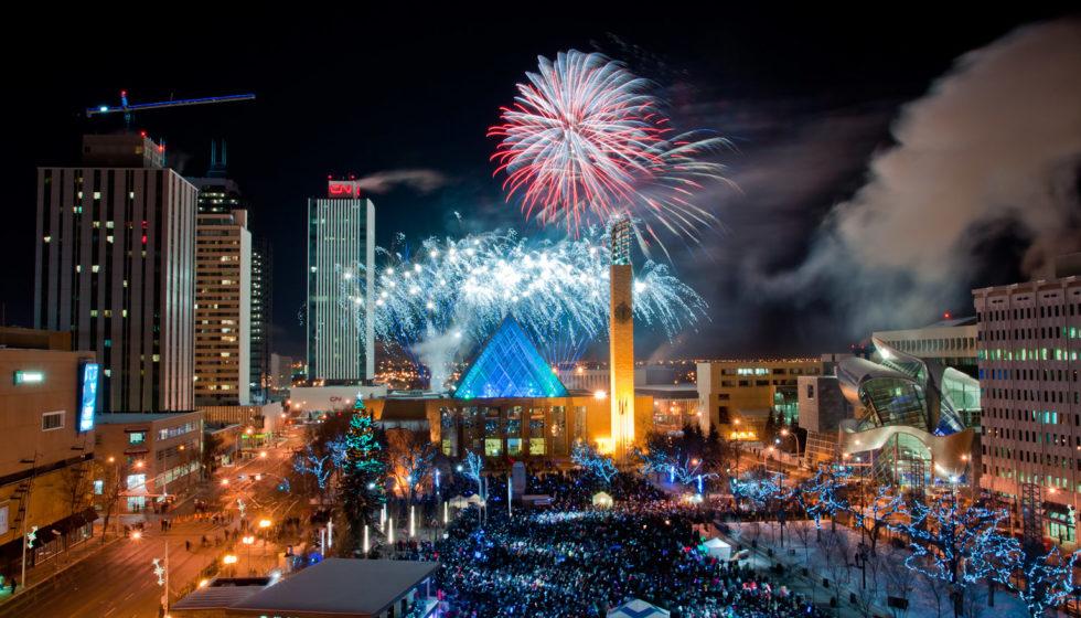 New Years Eve Edmonton Fireworks Churchill Square