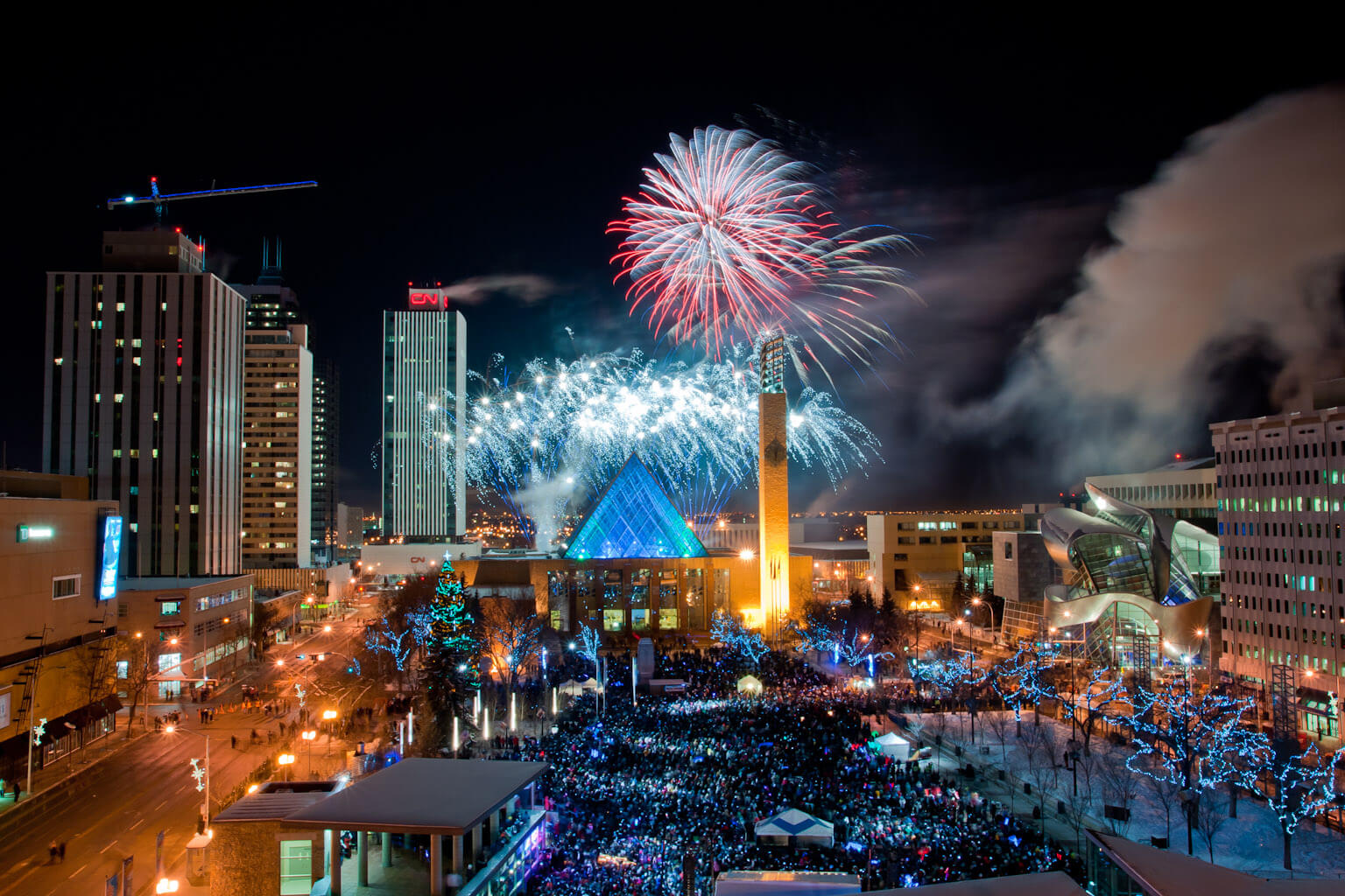 New Years Eve Edmonton Fireworks Churchill Square