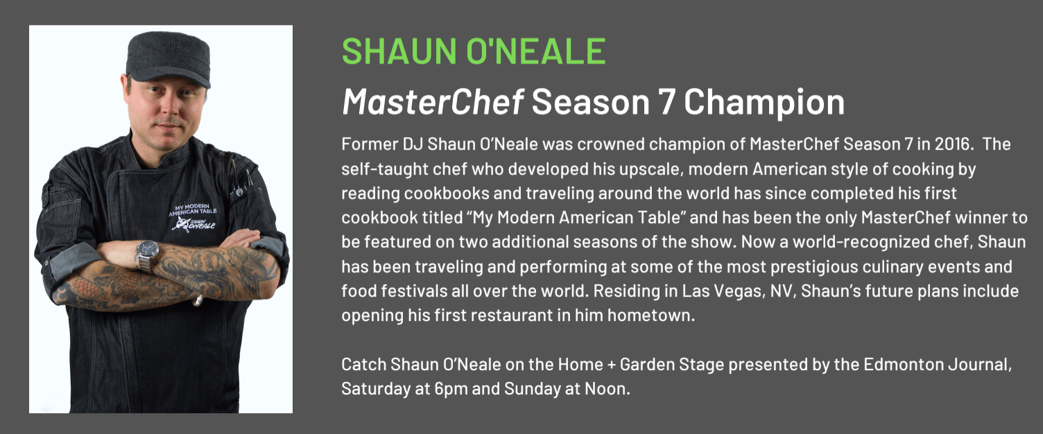 Edmonton Home Garden Show Cooking Stage MasterChef DJ Shaun ONeale