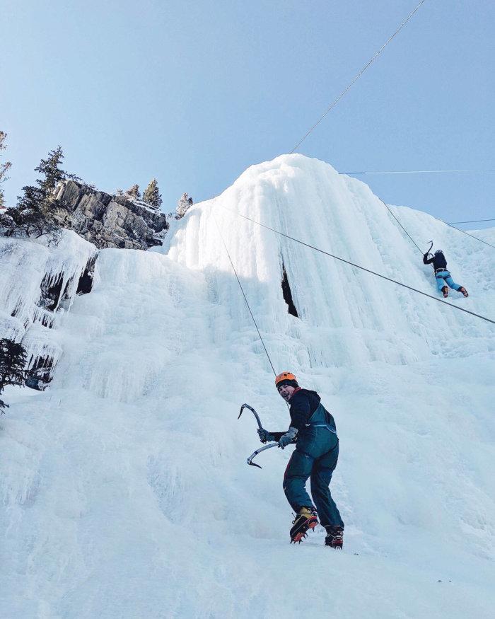 Travel Canmore Kananaskis Explore Alberta Ice Climbing Frozen Waterfall
