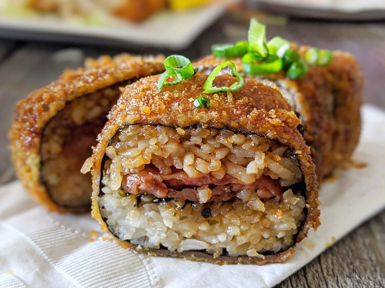 Deep Fried Spam Musubi Da Kitchen Kihei Seafood Fish Maui Hawaii Food Travel