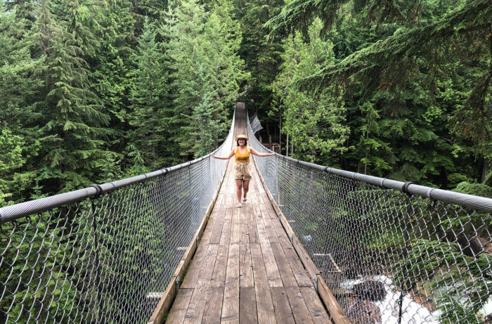 Crazy Creek Resort Suspension Bridge Waterfalls - Revelstoke British Columbia - Explore BC - AMA Travel Road Trip - Best Western