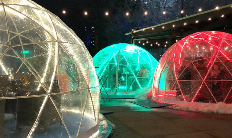 Explore Edmonton - Downtown Winter Patio Igloos - Domes